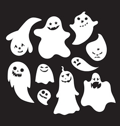 Set of halloween emotional ghosts vector