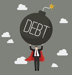Businessman superhero carry debt bomb vector