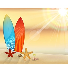 Sunset beach with surfboards vector
