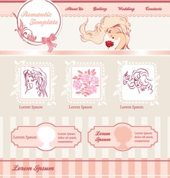 Romantic template for web site vector