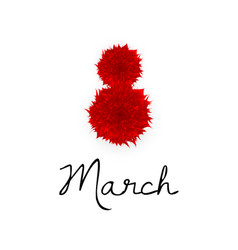 8 march red paper cut flowers women s day vector