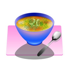 Mushroom soup in a deep plate with spoon vector