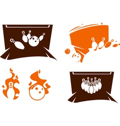 Set of bowling silhouette icons vector