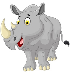 Cute rhino cartoon smiling vector