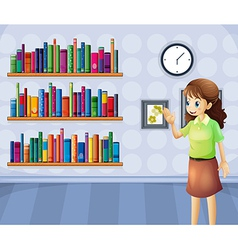 A female librarian inside the library vector