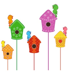Amusing birds singing in their homes vector image vector image