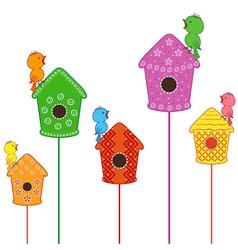 Amusing birds singing in their homes vector