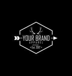 apparel logo clothing brand deer antlers logo vector image