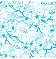 Blue birds with blossoms seamless pattern vector image