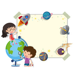 border template with kids and planets vector image