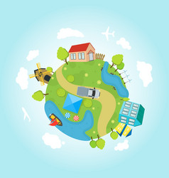cartoon planet earth with houses ocean roads vector image vector image