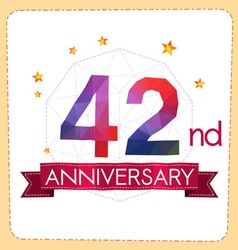 Colorful polygonal anniversary logo 2 042 vector