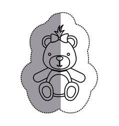 Contour teddy bear bow head vector