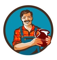 fresh milk logo drink or farmer icon vector image vector image