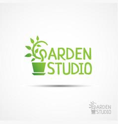 garden studio logo vector image vector image