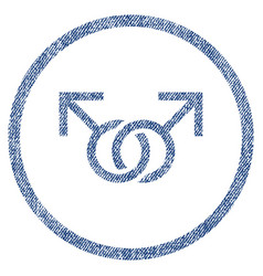gay love symbol rounded fabric textured icon vector image