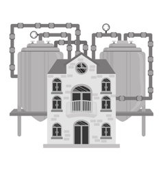 Grayscale beer factory icon image design vector