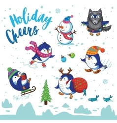 Holidays card with cute cartoon penguins vector image vector image