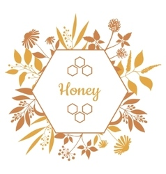 Honey label with plants and flowers vector