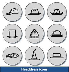 light headdress icons vector image vector image