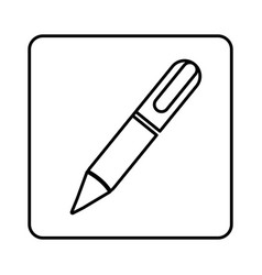 monochrome contour square with pen icon vector image vector image