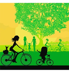 Mother and daughter biking in the park vector image vector image
