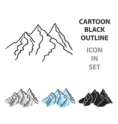 mountain range icon in cartoon style isolated on vector image