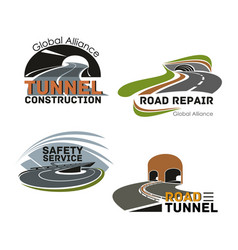 road building company or maintenance service icon vector image