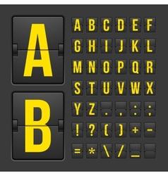 Scoreboard letters and symbols alphabet panel vector