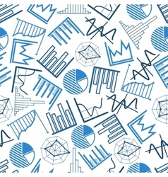 Seamless business charts financial graphs pattern vector image vector image