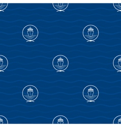 Seamless pattern with cruise ship vector