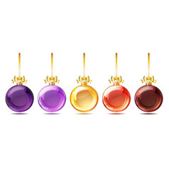 set of bright glass christmas balls vector image