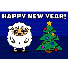 Sheep with christmas tree vector image vector image