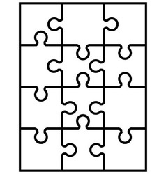 White jigsaw puzzle vector