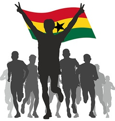 Winner with the Ghana flag at the finish vector image vector image