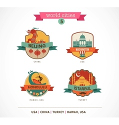 World Cities labels - Beijing Istanbul Honolulu vector image vector image