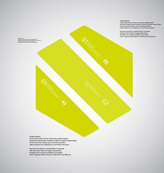 Hexagon template consists of three green parts on vector