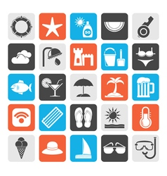 Silhouette beach resort and entertainment icons vector