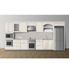 Luxury kitchen white realistic interior image vector