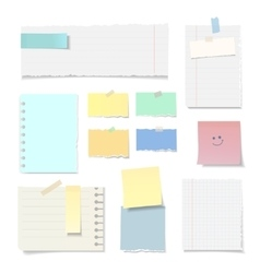 Set of blank torn paper sheets isolated vector