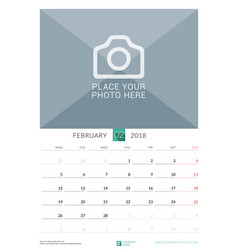 February 2018 wall monthly calendar for 2018 year vector