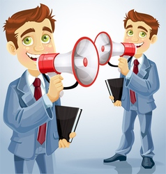 Cute businessman speaks in megaphone vector