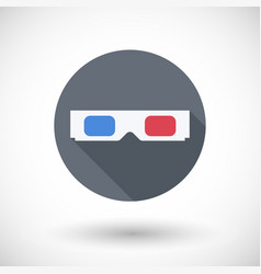 3d glasses flat icon with round shadow vector image
