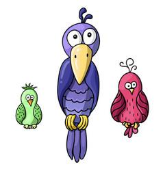 set of cute cartoon colored birds vector image