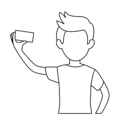 man taking a selfie icon vector image