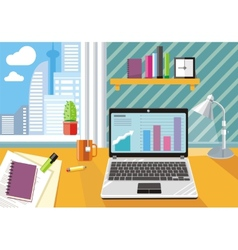 Workplace with laptop and documents vector