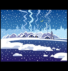 Winter blue evening landscape vector