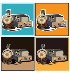 Headphones and amplifier set vector