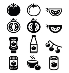 Tomato ketchup tomato soup icons set vector