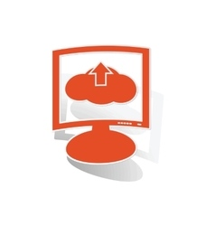 Cloud upload monitor sticker orange vector
